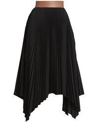 Loewe Leather Waistband Pleated Skirt - Black