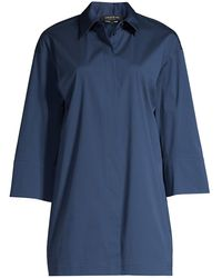 Lafayette 148 New York Wade Tunic Shirt - Blue