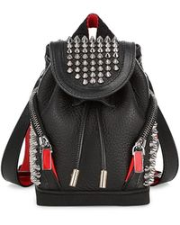 Christian Louboutin Mini Explorafunk Studded Leather Crossbody Backpack - Black