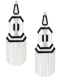 Nikos Koulis Oui Diamond, Enamel & 18k White Gold Chandelier Earrings - Black