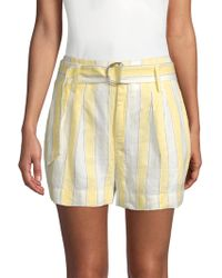 FRAME - Striped Linen Shorts - Lyst
