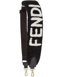 Fendi Logo Shearling Strap - Black