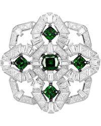 Adriana Orsini Azlyn Rhodium-plated Sterling Silver & Cubic Zirconia Brooch - Black