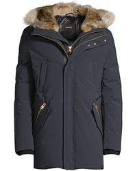 Mackage Edward Nordic Tech Coyote Fur-trim & Rabbit Fur-lined Down Coat - Blue