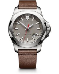 Victorinox Inox Stainless Steel & Leather Textured Dial Strap Watch - Brown