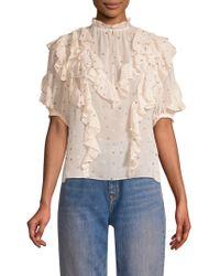 b597eec24b485 Lyst - Rebecca Taylor One-shoulder Glitter Silk Top in Black
