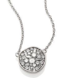 Plevé - Ice Diamond & 18k White Gold Pebble Pendant Necklace - Lyst