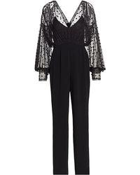 Saloni Bernadette Sheer Polka Dot Jumpsuit - Black