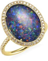Meira T - 14k Yellow Gold And Diamond Oval Opal Ring - Lyst