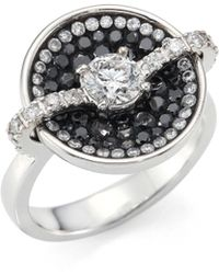 Plevé - Black Border Diamond & 18k White Gold Round Opus Ring - Lyst