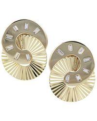 Phillips House Aura 14k Yellow Gold & Diamond Baquette Interlocking Stud Earrings - Metallic