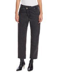 Monse - Women's Half & Half Plaid-back Jeans - Black - Lyst