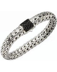 John Hardy - Classic Chain Sterling Silver Lava Large Bracelet With Black Sapphire - Lyst