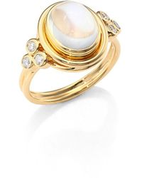 Temple St. Clair Classic Oval Diamond, Royal Blue Moonstone & 18k Yellow Gold Ring - Metallic