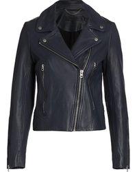 Rag & Bone Mack Leather Moto Jacket - Blue