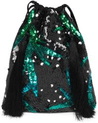 Attico - Georgette Sequin Leaf Pouch Bag - Lyst