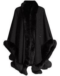 Sofia Cashmere Fox Fur & Cashmere U-cape - Black