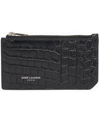Saint Laurent - Croc-embossed Leather Card Holder - Lyst