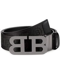 Bally Baly Iconic Buckle Mirror Stripe Belt - Black