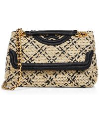 Tory Burch Fleming Leather-trimmed Raffia Shoulder Bag - Natural