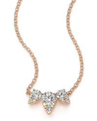 Hearts On Fire Aerial Triple Diamond & 18k Rose Gold Necklace - Pink