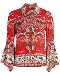 Alice + Olivia Randa Floral Trumpet-sleeve Blouse - Red