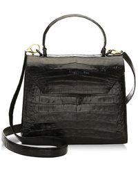 Nancy Gonzalez Medium Lily Crocodile Top Handle Bag - Black