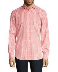 Kiton - Contemporary-fit Plaid Button-down Shirt - Lyst