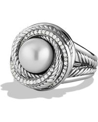 David Yurman - Pearl Crossover Ring With Diamonds - Lyst