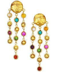 Sylvia Toledano Rain Drops 22k Goldplated & Multi-stone Clip-on Chain Drop Earrings - Multicolor