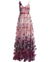 Marchesa notte Sleeveless 3d Floral Evening Gown - White