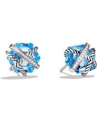 David Yurman - Cable Wrap Earrings With Diamonds - Lyst