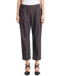 Brunello Cucinelli - Check Curved Cigarette Pants - Lyst