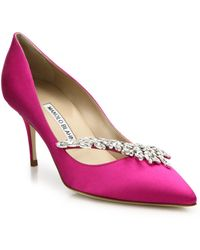 Manolo Blahnik - Nadira 70 Crystal-detailed Satin Court Shoes - Lyst