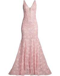 Basix Black Label Lace Mermaid Gown - Pink
