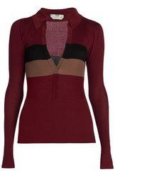Fendi Collared Silk Knit Top