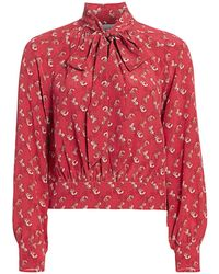 COACH Horse And Carriage Tie-neck Blouse - Red