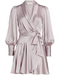 Zimmermann - Wild Botanica Silk Wrap Mini Dress - Lyst