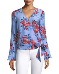 Parker - Isabella Floral Bell-sleeve Wrap Blouse - Lyst