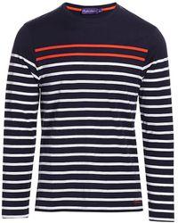 Ralph Lauren Purple Label Stripe Crew Long-sleeve T-shirt - Blue