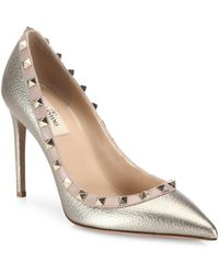 Valentino - Rockstud Metallic Leather Point Toe Pumps - Lyst