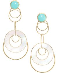 Ippolita - Polished Rock Candy® 18k Yellow Gold, Mother-of-pearl & Turquoise Overlapping Hoop Drop Earrings - Lyst
