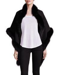 Sofia Cashmere - Oblong Fox Fur-trimmed Cashmere Wrap - Lyst