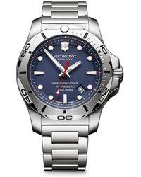 Victorinox Inox Pro Diver Blue Dial Stainless Steel Bracelet Watch - Metallic