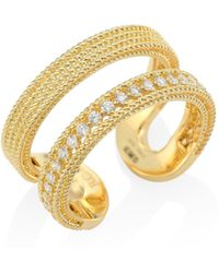 Roberto Coin - Double Symphony Diamond & 18k Yellow Gold Ring - Lyst