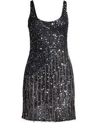 Parker Black Reena Embellished Fringe Sequined Mini Dress - Black
