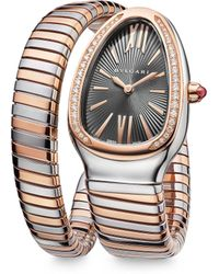 bvlgari serpenti 18k rose gold u0026 diamond watch lyst