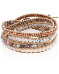 Chan Luu Grey Banded Agate, Hematine, Crystal & Leather Beaded Wrap Bracelet - Natural