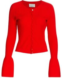 3.1 Phillip Lim Tulip-sleeve Merino Wool Cardigan - Red