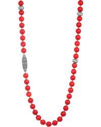 Adriana Orsini - Spectrum Swarovski Crystal & Coral Bead Necklace - Lyst